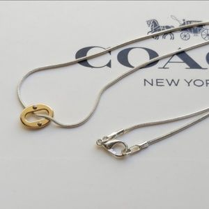 Coach Open Link Charm Silver Plated Necklace